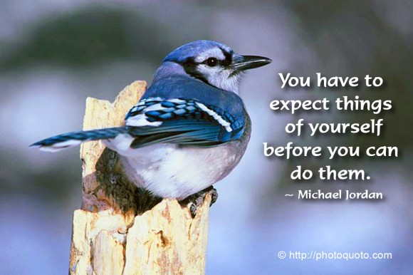 You have to expect things of yourself before you can do them. ~ Michael Jordan