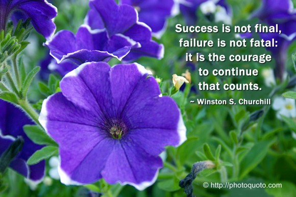 Success is not final, failure is not fatal: it is the courage to continue that counts. ~ Winston S. Churchill