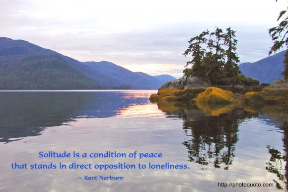Solitude is a condition of peace that stands in direct opposition to loneliness. ~ Kent Nerburn