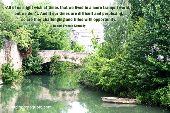 All of us might wish at times that we lived in a more tranquil world, but we don't. And if our times are difficult and perplexing, so are they challenging and filled with opportunity. - Robert Francis Kennedy