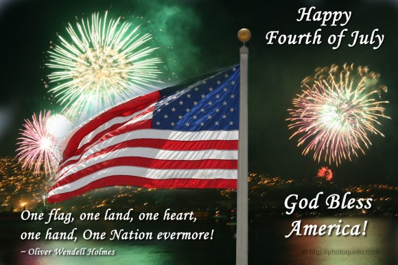 One flag, one land, one heart, one hand, One Nation evermore! ~ Oliver Wendell Holmes