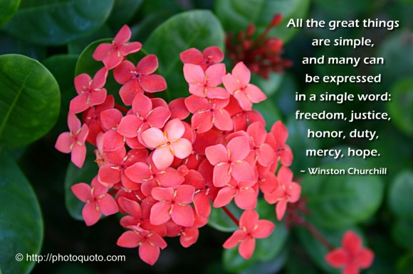 All the great things are simple, and many can be expressed in a single word: freedom, justice, honor, duty, mercy, hope. ~  Winston Churchill