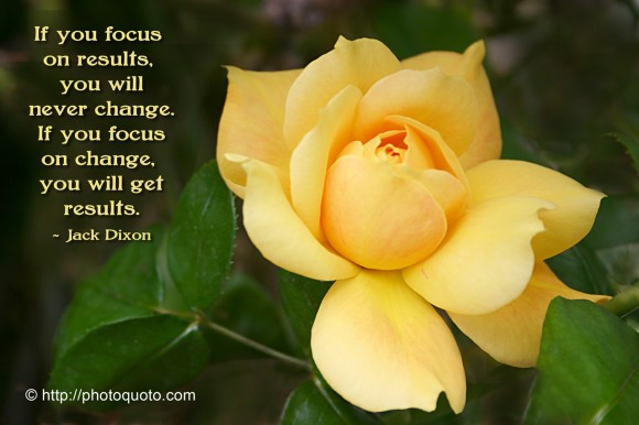 If you focus on results, you will never change. If you focus on change, you will get results. ~ Jack Dixon