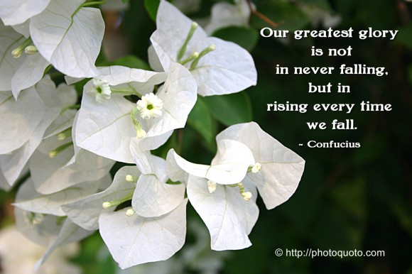 Our greatest glory is not in never falling, but in rising every time we fall. ~  Confucius