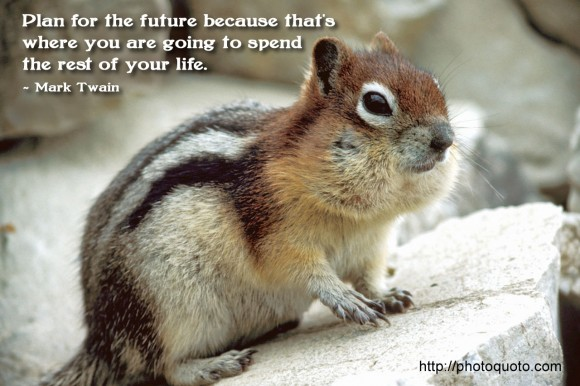 Plan for the future because that's where you are going to spend the rest of your life. ~  Mark Twain
